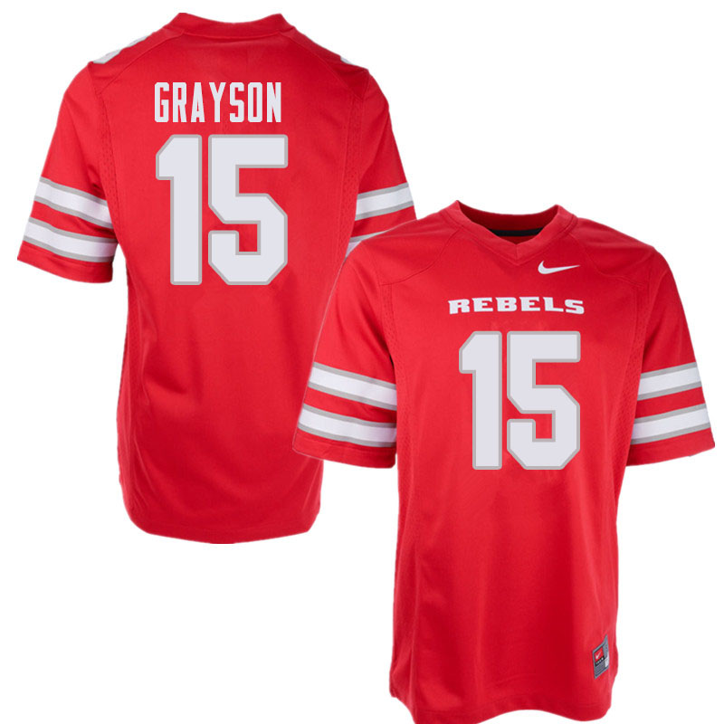 Men's UNLV Rebels #15 Marckell Grayson College Football Jerseys Sale-Red
